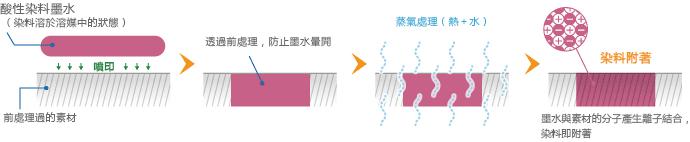 酸性染料墨水的附著方式