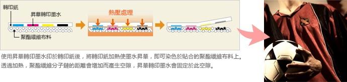 使用昇華轉印墨水印於轉印紙後,將轉印紙加熱使墨水昇華,即可染色於貼合的聚酯纖維布料上。透過加熱,聚酯纖維分子鏈的距離會增加而產生空隙,昇華轉印墨水會固定於此空隙。