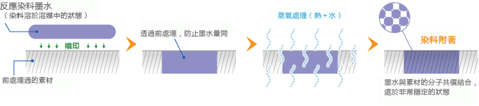 反應染料墨水的附著方式