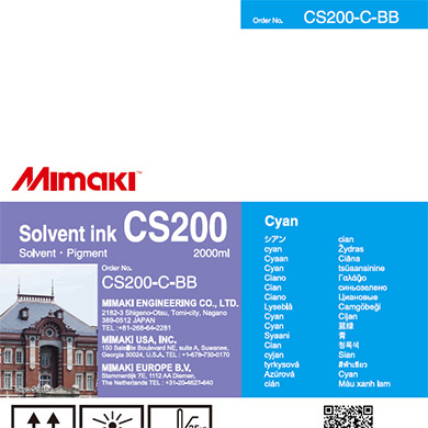 CS200-C-BB CS200 Solvent ink bottle Cyan