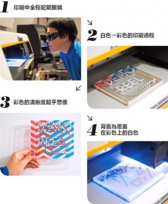 1.印刷中全程配戴眼鏡 2.白色→彩色的印刷過程 3.彩色的清晰度超乎想像 4.背面為覆蓋在彩色上的白色